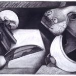 <em>Leopard Brings in the Night</em>, 1994, charcoal, 16 x 24 inches