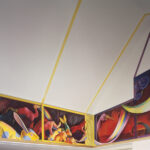 <em>Inside the Ark, 1993-95, left panel, oil on canvas and hydrocal bas-reliefs, 46 x 162 inches and front panel, As the Flood Rises, Paint a Green Room, Dream a New Sun, oil on canvas, 69 x 184 inches</em>