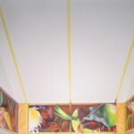 <em>Inside the Ark, 1993-95, right panel, oil on canvas and hydrocal bas-reliefs, 46 x 162 inches</em>