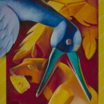 <em>Art Not Food/Freedom Not Food: Crow Finds Her Voice</em>, 1996–97, hand-ground oil on canvas, 48 x 36 inches