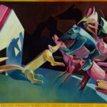 <em>Mother, A Russian Tigress, Stopped Traffic on Jackson Street, Singing Arias in Strange Tongues</em>, 1985–86, hand-ground oil on canvas, 28 x 56 inches