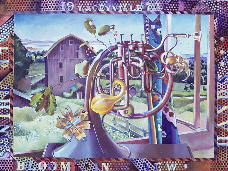 Old Things Bloom in New Hands, 1973, hand-ground oil on canvas, 30 x 40 inches