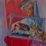 <em>Red Comes to Wolf's Bed and Transforms his Appetite</em>, 1982, hand-ground oil on canvas, 52 x 36 inches