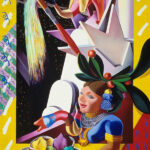 <em>The Tree Godess Offers Free Color to New York</em>, 1991, hand-ground oil on canvas, 48 x 64 inches