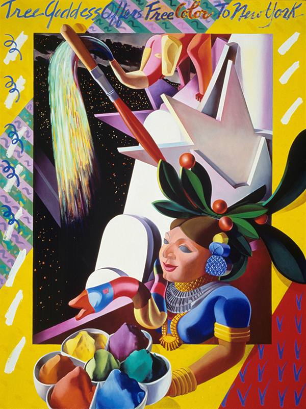 The Tree Godess Offers Free Color to New York, 1991, hand-ground oil on canvas, 48 x 64 inches