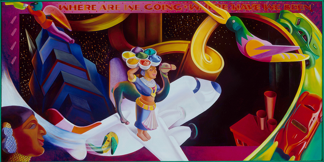 Where Are We Going/Where Have We Been? 1991, hand-ground oil on canvas, 27 x 54 inches
