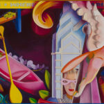 <em>Who Are We/Where Are We Going?</em> 1991, hand-ground oil on canvas, 27 x 54 inches