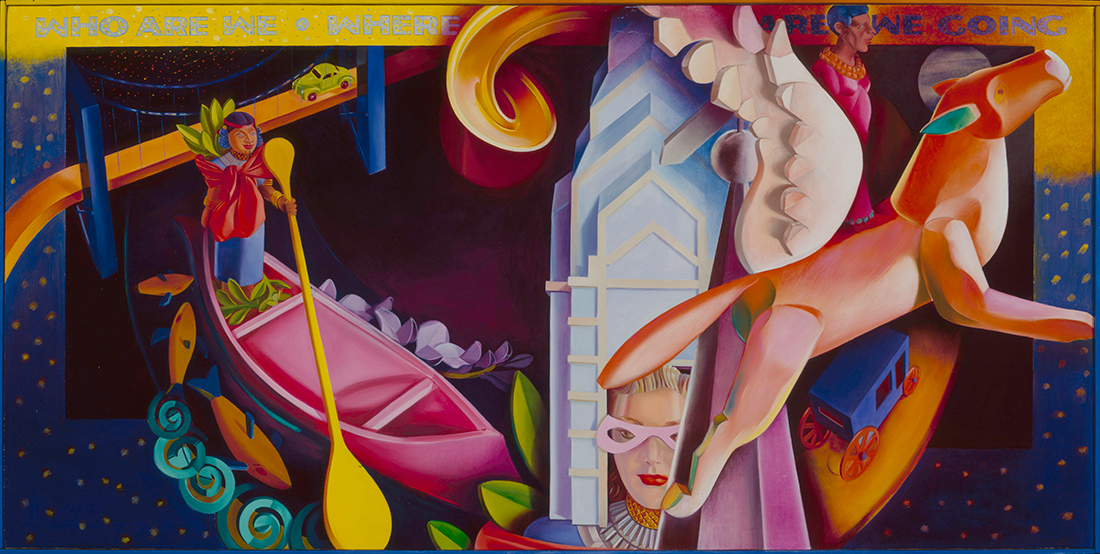 Who Are We/Where Are We Going? 1991, hand-ground oil on canvas, 27 x 54 inches