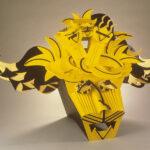 <em>The Golden Calf Mask</em>, 1986, painted Foam-Core, 36 x 36 x 24 inches