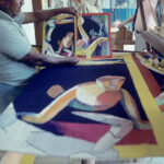 <em>Lerman tapestry being made, based on one of her watercolors, in Teotitlán del Valle, Mexico, 1994</em>