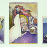 Trilogy: <em>Geese Lay Golden Eggs in the Attic of Sidilkov</em>, 1984. Left to right: <em>Geese Lay Golden Eggs in the Attics of Sidilkov; Almost Born in the USSR, I Watch the Swapping of Gods from Afar; and Singled Out and Scared, I Was the Only Kid in Class Voting for Henry Wallace</em>, three watercolors, 24 x 60 inches overall