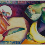 <em>Leopard Brings in the Night</em> (study for tapestry), 1994, watercolor 16 x 24 inches