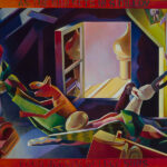 <em>As the Sun Sets in Sidilkov, Eggs Become Golden Suns</em>, 1986, hand-ground oil on canvas, 36 x 52 inches